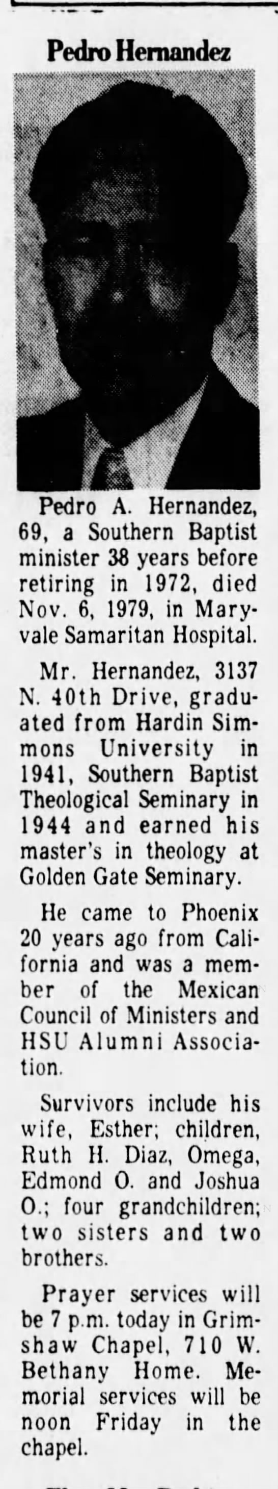 Rev Pedro Hernandez Obit - 8 November 1979 Arizona Republic (Phoenix) -
