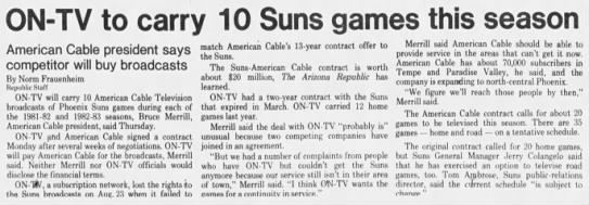 ON-TV to carry 10 Suns games this season -