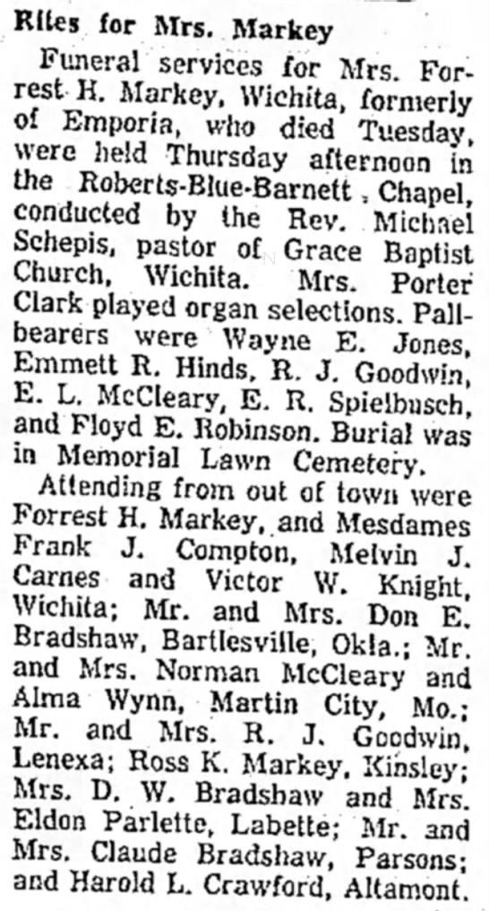 Rites for Mrs. (Forrest) Markey, The Emporia Gazette, (Emporia, Kansas), 26 Sep 1958, page 1.  -