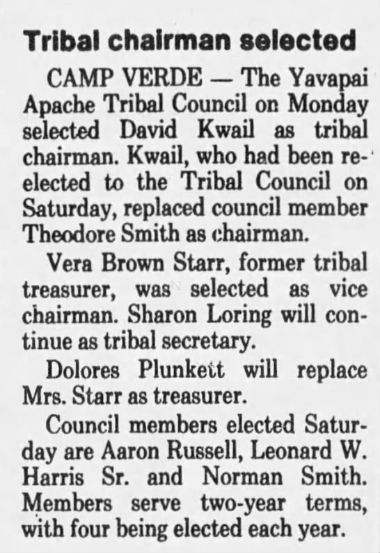 Tribal chairman selected. The Arizona Republic (Phoenix, Arizona) 14 July 1982, p 18 -