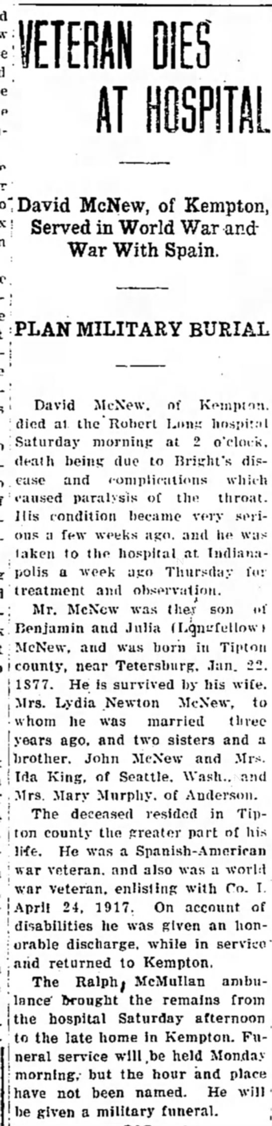 Tipton Tribune, Dec. 27, 1930 page 1 - David McNew, of Kempton, j AT HOSPITAL Served...