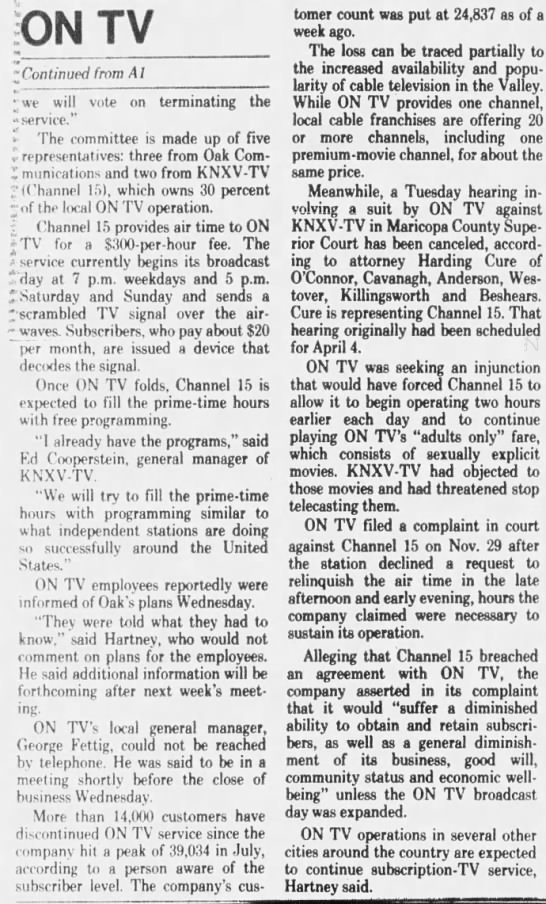 ON TV plans to halt programming to Valley (2) -