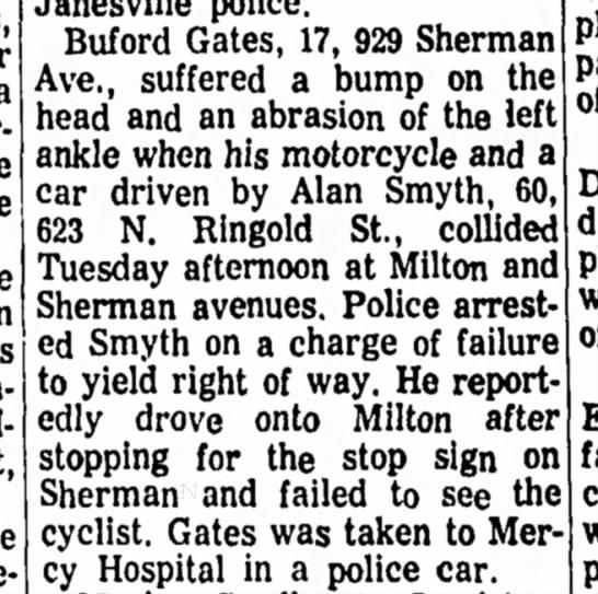 ALAN SMYTH CAR ACCIDENT14 Oct 1964 -