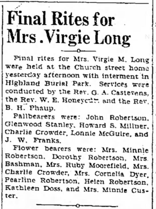 Minnie Custer  - Final Rites for Mrs. Virgie Long Final rites...