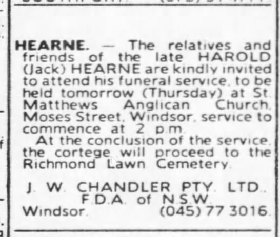 Harold Jack Hearne - Funeral Notice SMH Wednesday 19th June 1991