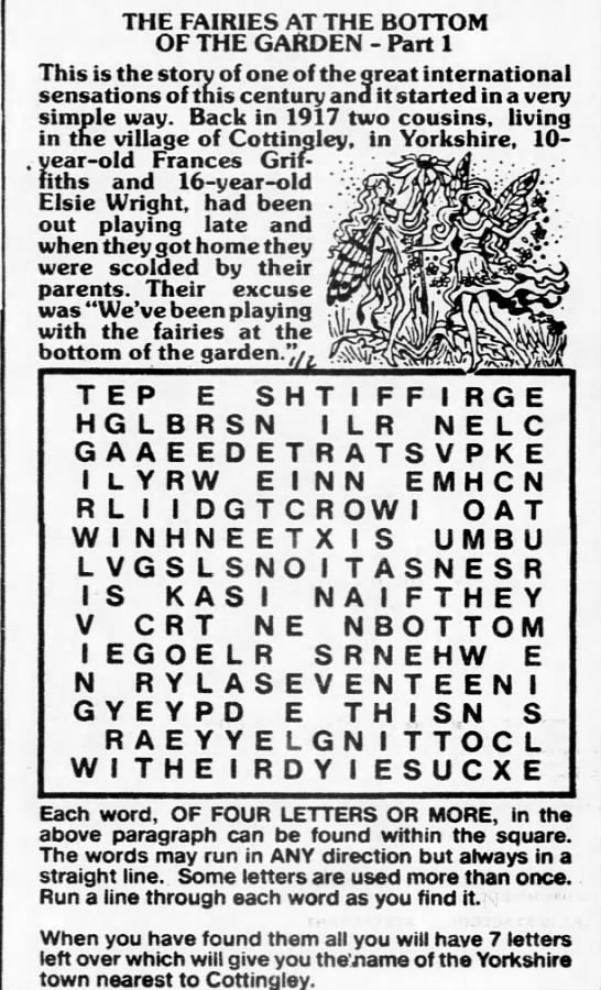 Cottingley Fairies Word Search -