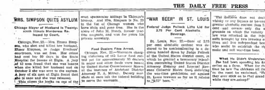 Emma Simpson set free, 22 Nov 1919 - The Daily Free Press, Carbondale, IL. -