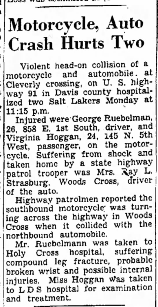 Virginia Hoggan injured in accident -