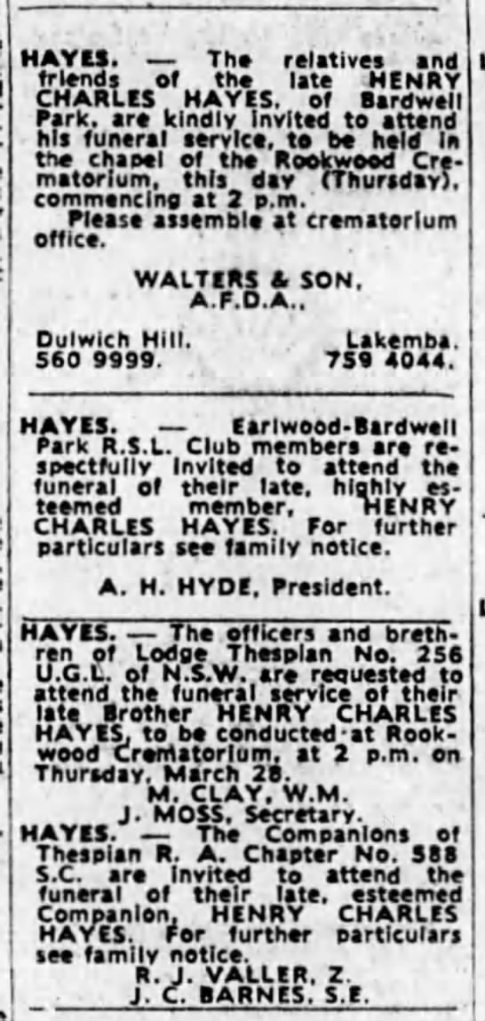 Henry Charles Hayes - Funeral Notices SMH Thursday 28th March 1974 - HAYES. Tho relatives and friends of tho late...