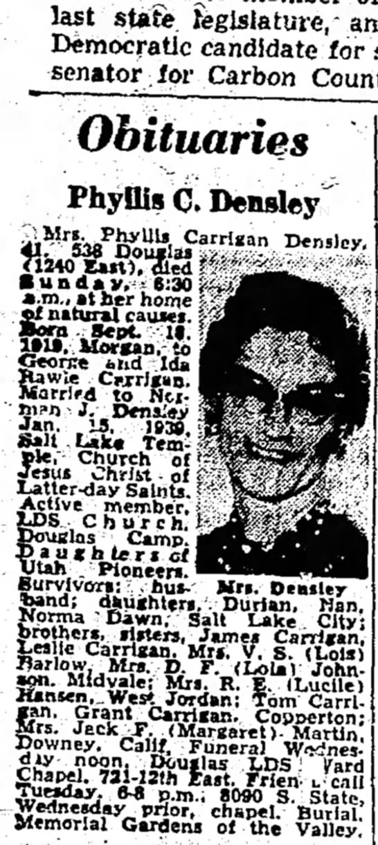1960 Oct 31 Phyllis Carrigan Densley obit -