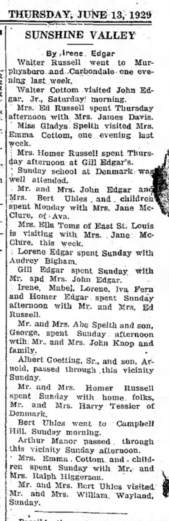 Sunshine Valley News con't - THURSDAY^ JUNE 13, 1929 SUNSHINE VALLEY By...