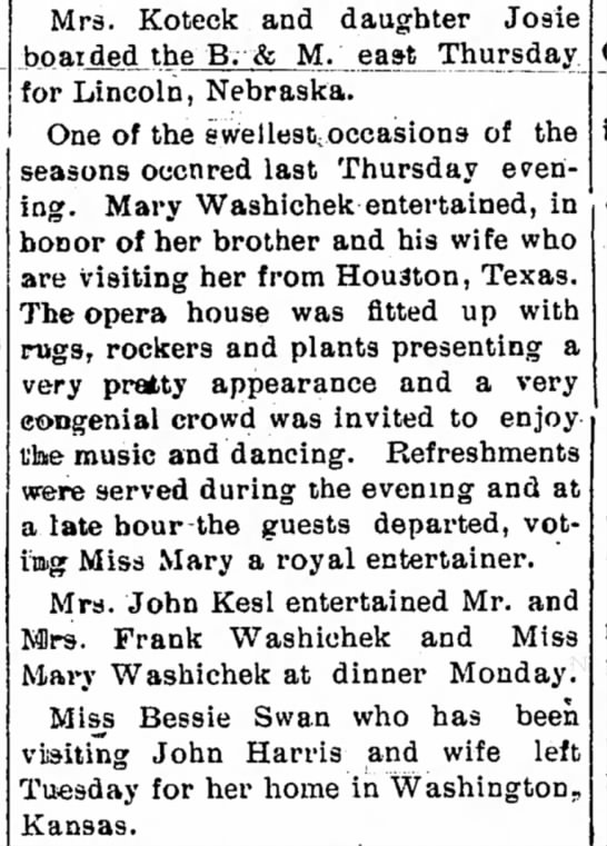 Mary Washichek Entertains Belleville Telescope 22 Aug 1902 -