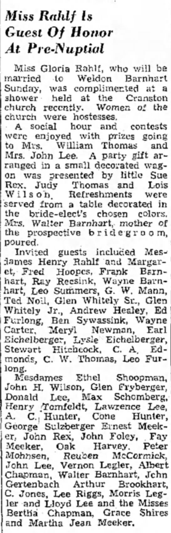 Cranston Church event from Muscatine Journal 5/28/1949 -