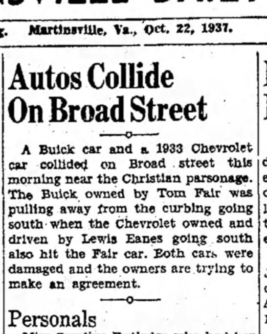 Lewis Eanes Accident -