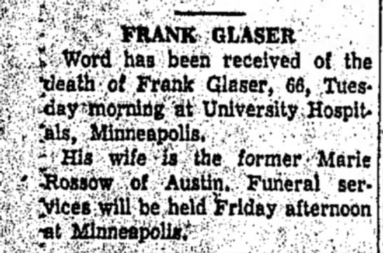 - , - 'l:y FRANK- GLASER , S.Word has been...