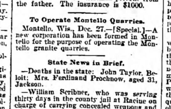 the weekly wisconsin , milwaukee Dec 31 1898 quarry -