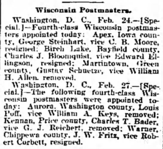 Charles Bloomquist. Wisconsin Postmasters.  The Weekly Wisconsin, Milwaukee, 4 March 1899, page 5 -