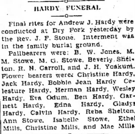 Andrew J Hardy obit - HAKDV FUNERAL Final rites for Andrew J. Hardy...