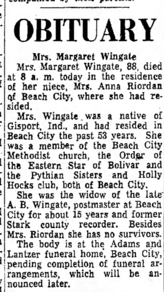 aunt mags obitmay 1952 -