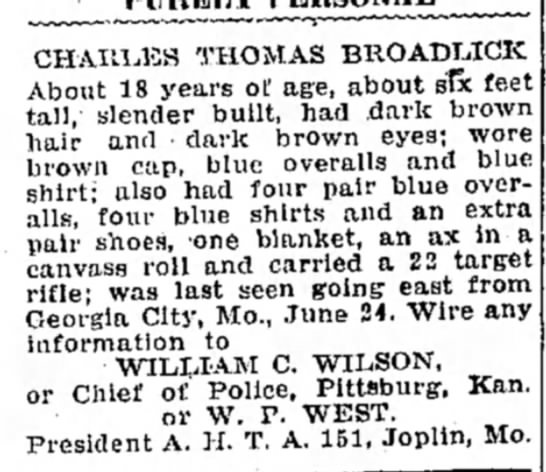 CTB1 - CHARLES THOMAS BROADLICK About 18 years of age,...