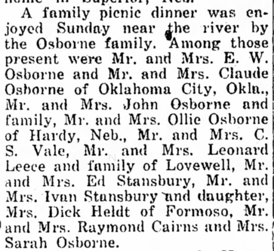 Osborne family picinic May 2, 1946. - A family picnic dinner was on- .I'oyed Sunday...