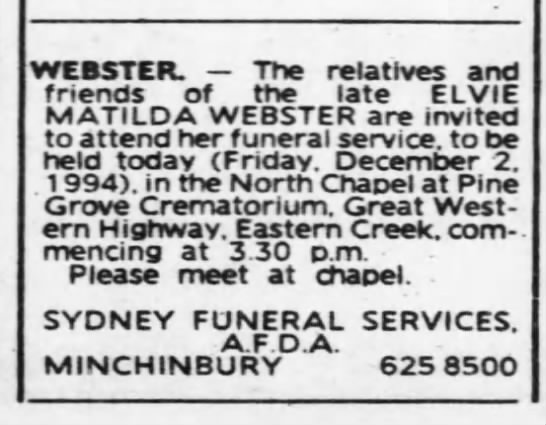 Funeral Notice Elvie Matilda Webster - Newspapers com