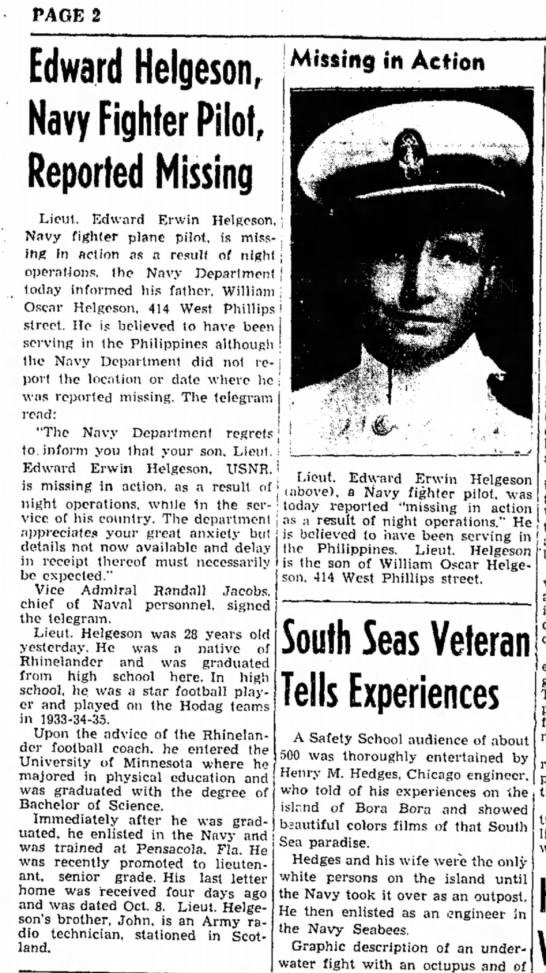 Lt. Edward Erwin Helgeson, MIA. -