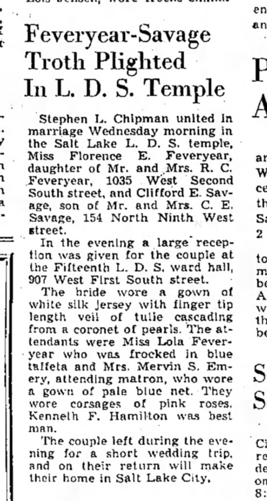 Florance Feveryear Marriage, The Salt Lake Tribune, Saturday, October 12, 1940 -
