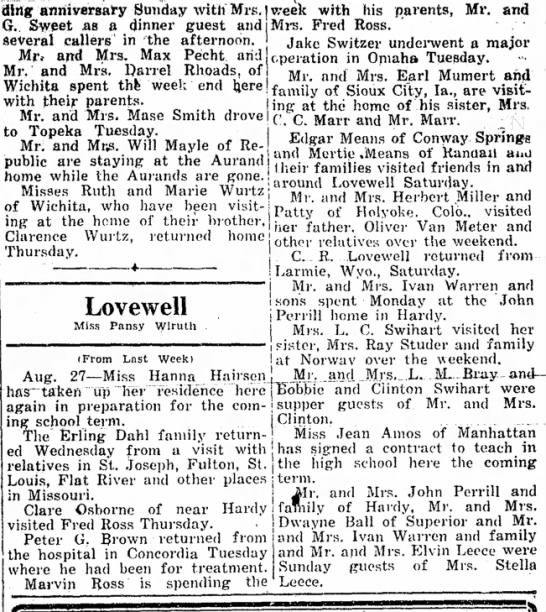 Lovewell happenings September 5, 1946 - ding anmyeraary Sunday witn Mrs, I week with...