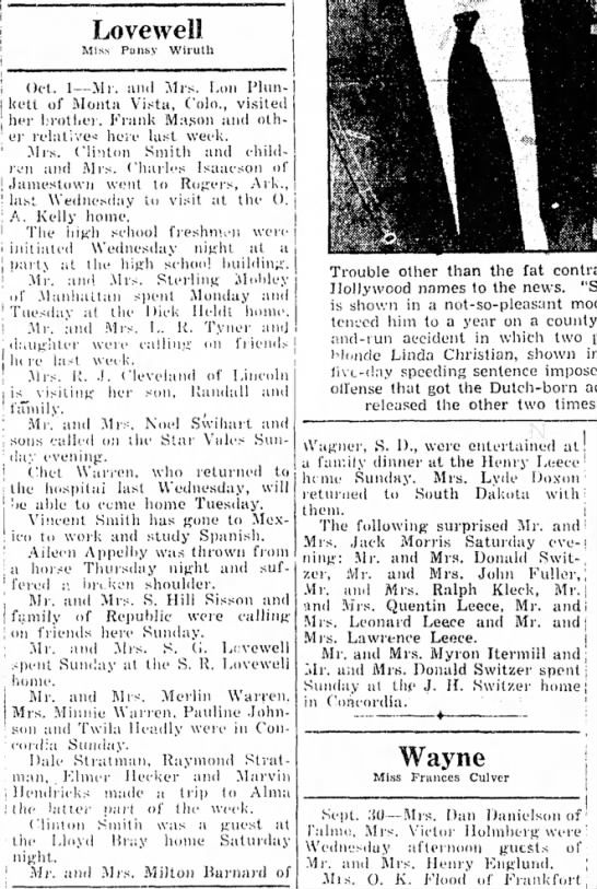 Lovewell happenings October 3, 1946 - Lovewell MIs.s Pansy Wiruth i Oct. 1— .Ml. and...