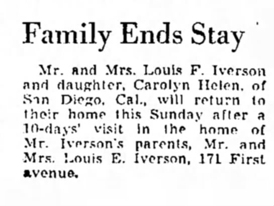 Notice of travel by Louis S. Iverson family in 1940 -