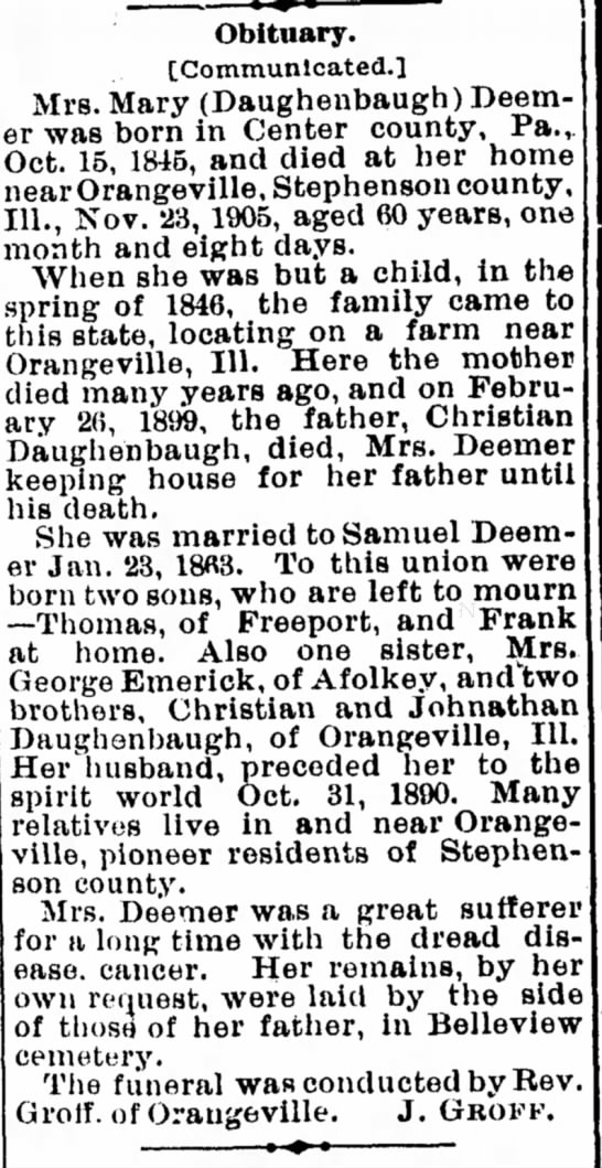 Mary Daughenbaugh Deemer obituary 1905 -