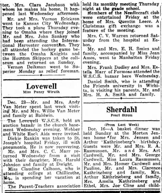 Lovewell happenings December 26, 1946 - ter, Mrs. Clara Jacobsoij with whom ho makes...