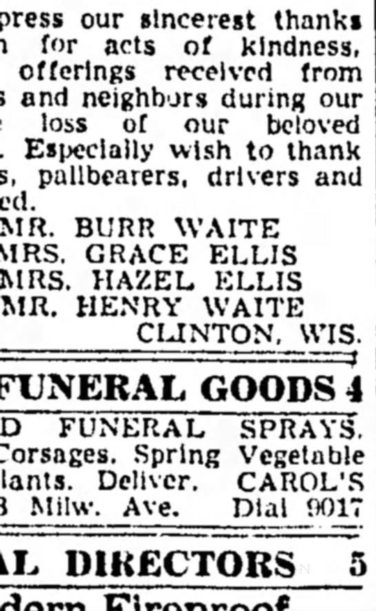 Janesville Daily Gazette, April 22, 1949 Cards of Thanks in the Death of Mabel (Loomis) Waite -