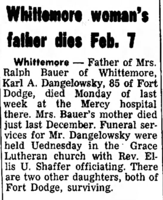 - Whittwnort woman's father AN Feb. 7 Whittemore...
