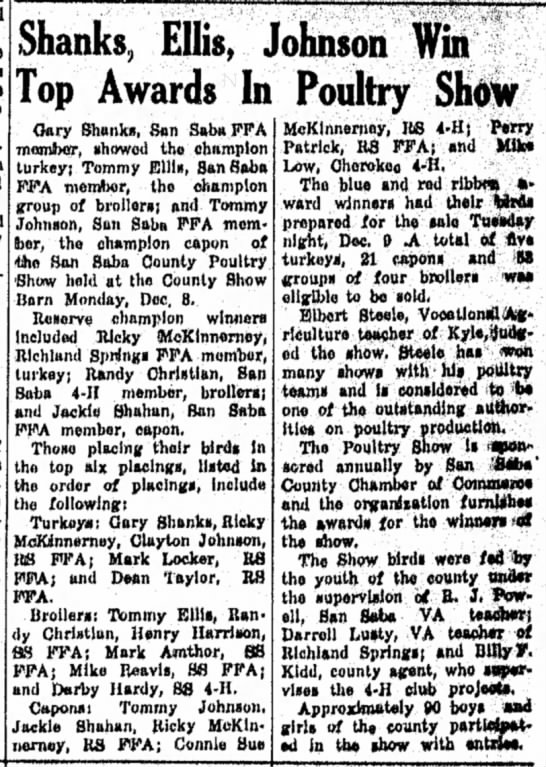 Olan Dean Taylor Poultry Show The San Saba News and Star December 11, 1969 -