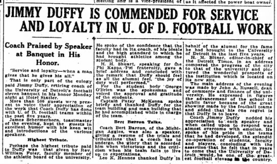 Jimmy Duffy Is Commended for Service and Loyalty in U. of D. Football Work -