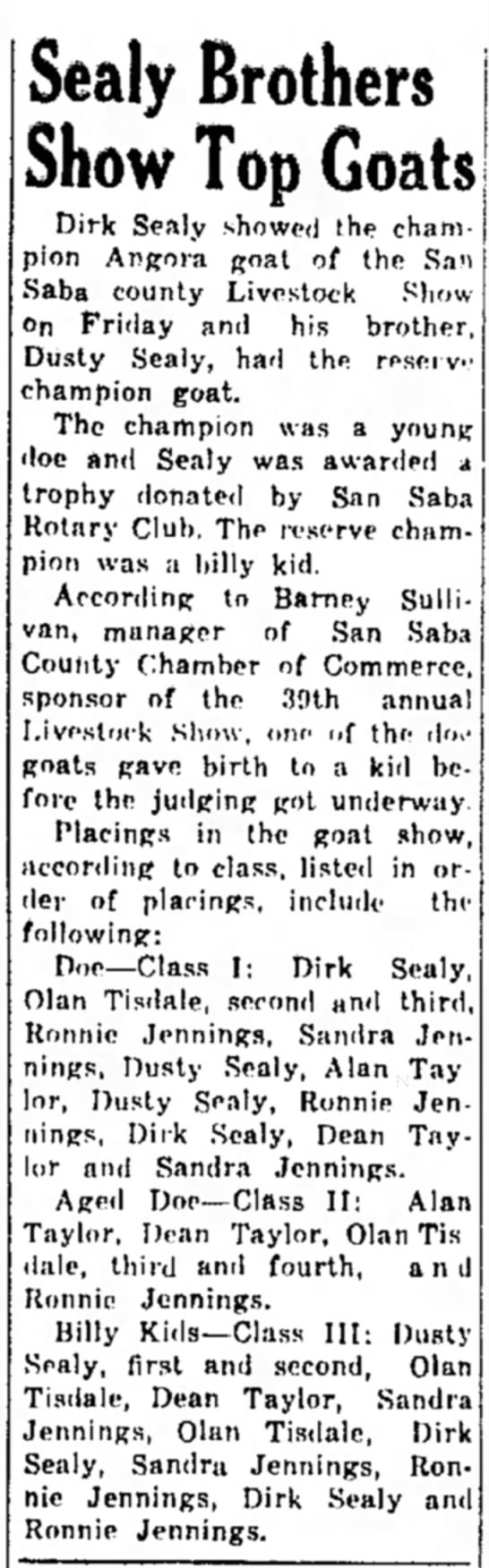 San Saba County Livestock Show The San Saba News & Star Jan 29, 1970 -
