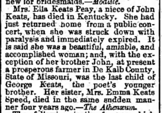 Emma Keats death - new for bridesmaids. — Modiste. Mrs. Ella Keats...