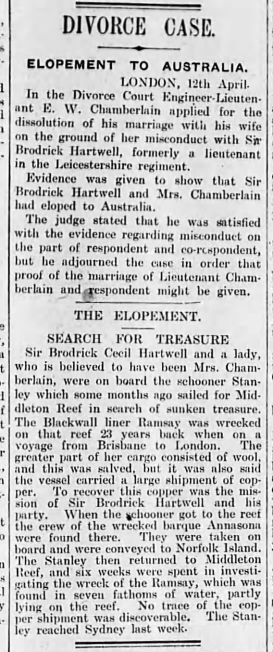 Sir Brodrick Hartwell elopes with Mrs Chamberlain -