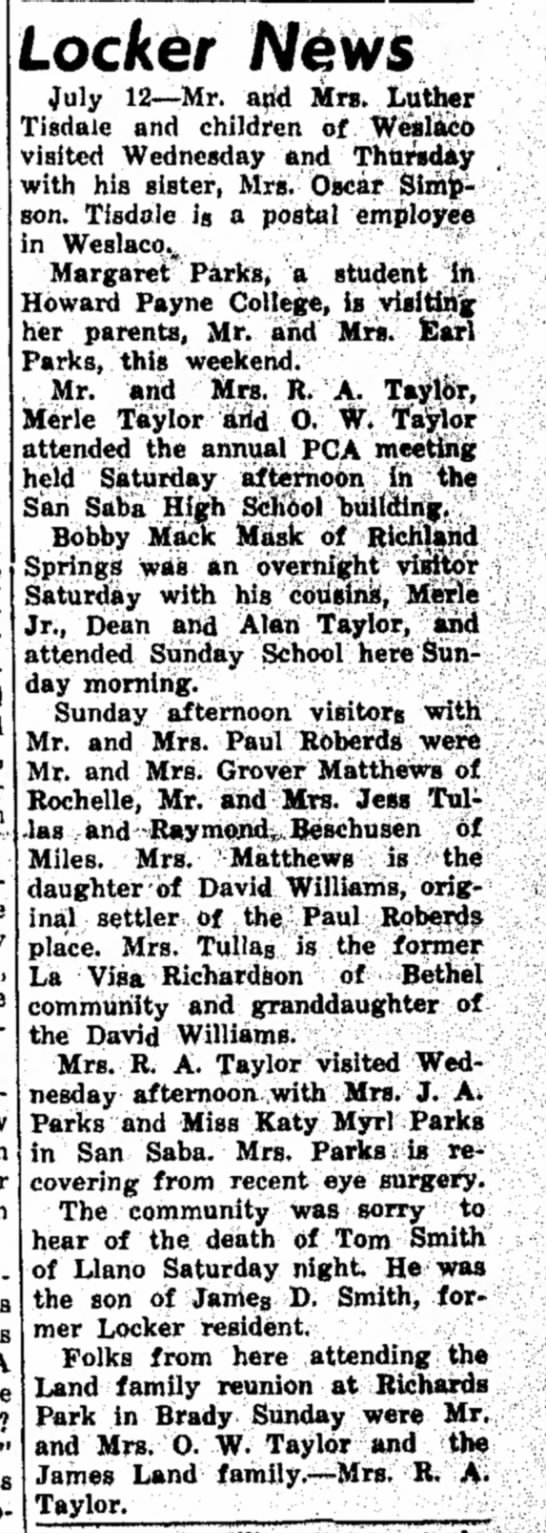 The San Saba News and Star 15 Jul 1965 Pg. 9 Locker News -