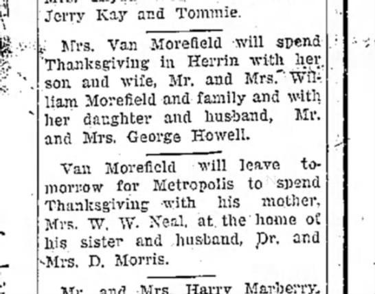 daily independent murphysboro il 27 nov 1946 van morefield family -