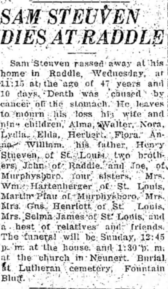 Sam Stueven Obituary -
