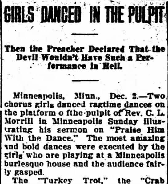 Chorus Girls Dance Ragtime in Minneapolis Church -