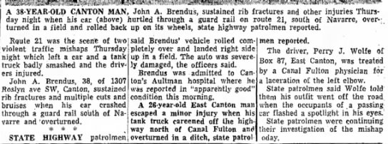 John A Brendus Auto accident - The Evening Independent (Massillon