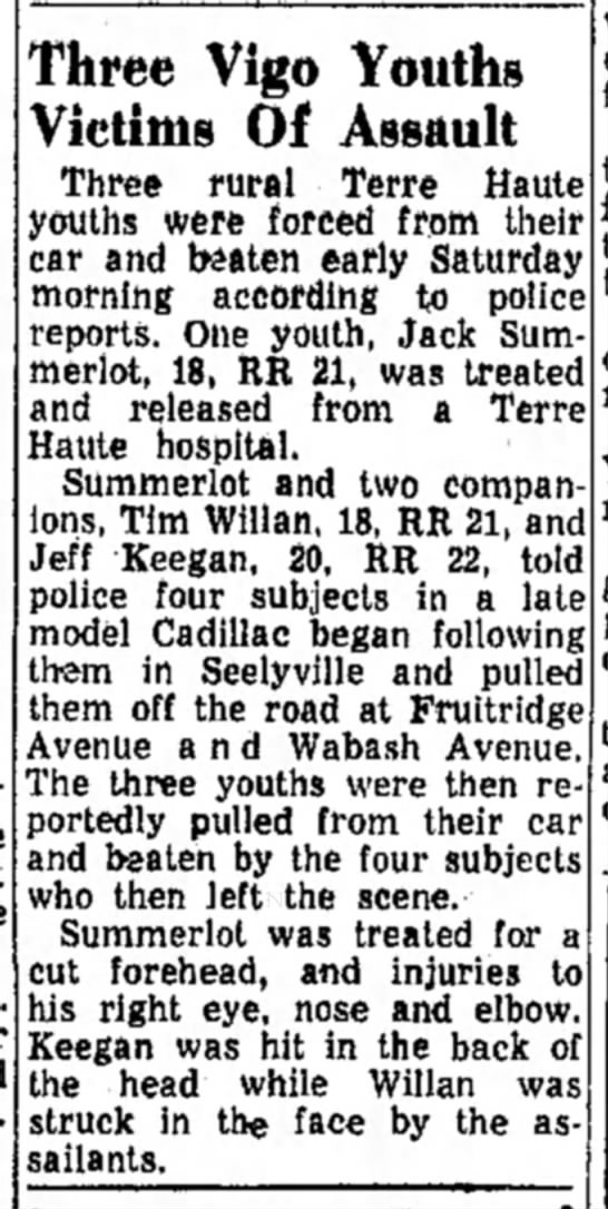 Jack Summerlot in Terre Haute, IN - Three Vigo Youths Victims Of Assault Three...