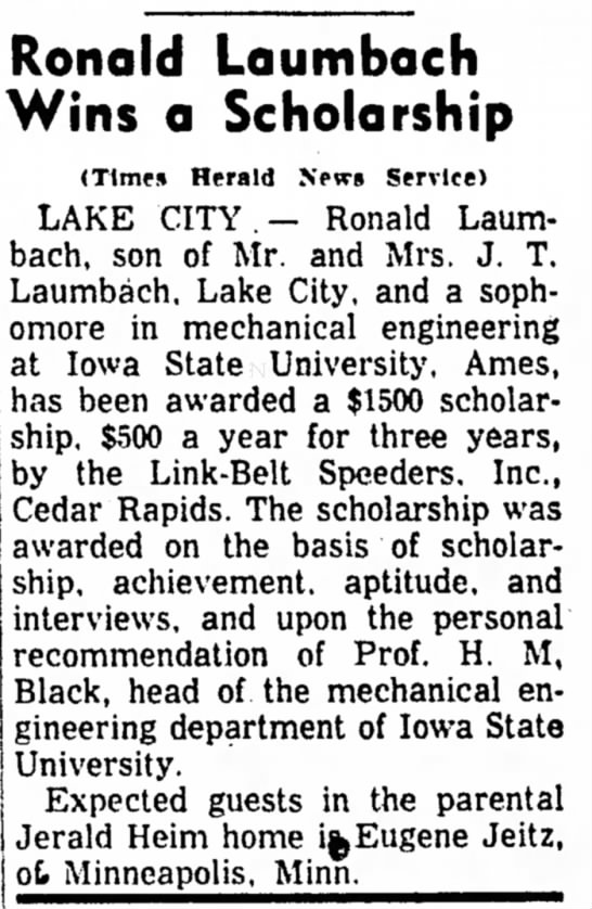 Carrol Daily Times Herald, Carroll, Iowa, 19 October 1960. -