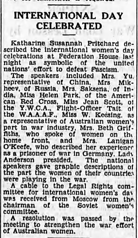 International Women's Day celebration, Sydney Australia, 1943. -