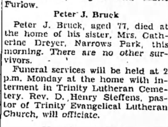 Peter Bruck died February 11, 1933 -