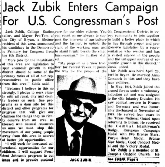 Jack Zubik Campaigns for U S Congress -